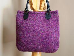 Plum tweed wool felt tote bag