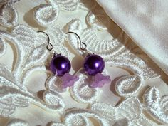 Orla Bridal Pearl Earrings Purple Floral & Pearl by ScarlettRose. $10.00, via Etsy.