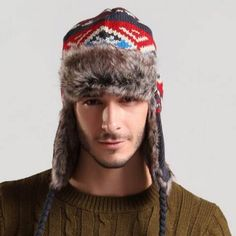 fc867cf0be0 Ethnic geometric bomber hat knitted Ushanka hat with ear flaps for men