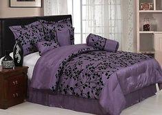 Chezmoi Collection 7pcs Silky Purple Black Flocked Leaf Comforter Set Queen | Home & Garden, Bedding, Bed-in-a-Bag | eBay!