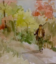 """""""Counting the Days to the Season"""" Original watercolor  8x10 by pinner"""