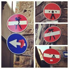 Great street art on signs in Florence, Italy.