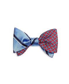 Square Link Print with Sidewheeler Stripe Reverdible Bow TieLight Blue-Red