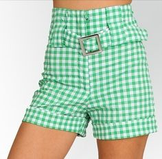 LAST+ONE+IN+STOCK!!+Meeting+Green+White+Vintage++High+Waist+Belted+Checkered+Shorts