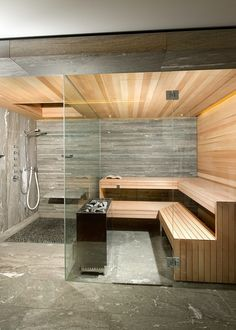 Cozy Sauna Shower Combo Comforting Your Bathe Activities: Beautiful Design Of Sauna Shower Combo With Tile Flooring And Pebble Stone Tile Also Wood Tile With Shower Bench And Rain Shower Plus Glass Door. Kieselsteine im Duschbereich der Sauna. Saunas, Sauna Shower, Shower Seat, Bath Shower, Sauna Steam Room, Sauna Room, Sauna House, House Bath, Home Spa Room