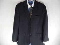 41R Black Brown Lord & Taylor Mens Plaid Check Sport Coat Blazer Suit Jacket  #BlackBrownLordTaylor #TwoButton