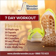 Crunches, Lunges, Squats, Slender Wonder, 7 Day Workout, Jumping Jacks, Excercise, Jogging, At Home Workouts