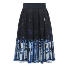 'Marnie' Midnight Cat Print Swing Skirt
