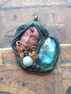 Earth Goddess Gaia. Goddess Pendant with Necklace and Blue Druzy and Aquamarine  Bead. Handsculpted, Polymer Clay Pendant