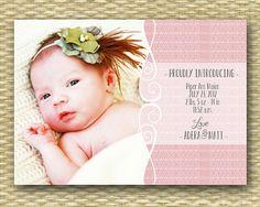 Custom Birth Announcement  Luella Baby Girl by SunshinePrintables, $15.00