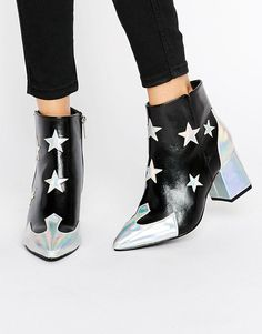 Daisy+Street+Star+Print+Heeled+Ankle+Boots