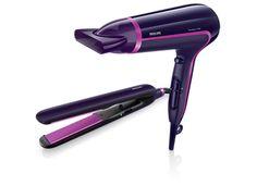 Różne ustawienia szybkości i temperatury umożliwiają wysuszenie włosów w wybrany sposób, a funkcja ThermoProtect pozwala szybko je wysuszyć w stałej, łagodnej temperaturze. Dłuższe płytki grzejne prostownicy Essential Care to szybki i delikatny sposób na proste włosy. Super duet od Philipsa.