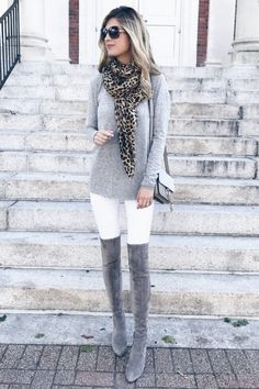 Fall sweaters 2017 - softest gray tunic with leopard scarf over white skinny jea. Grey Boots Outfit, Winter Boots Outfits, Casual Fall Outfits, Gray Boots, Black Booties, Grey Knee High Boots, Over The Knee Boot Outfit, Knee Boots, Sweaters And Jeans