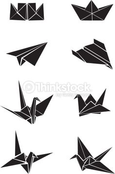 Vecrot set of origami paper boats, planes and cranes