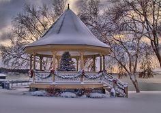 Christmas Gazebo on Skaneateles Lake, New York