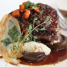 Try this Braised Lamb Rump with Swiss Brown Mushroom, Eggplant Puree and Potato Wafers recipe by Chef Tony Hart.