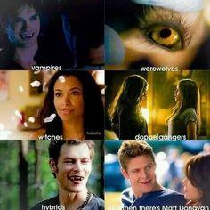 The Vampire Diaries. Vampires wherewolves, witches, hybrids, doppelgangers and matt donavan. ;-)