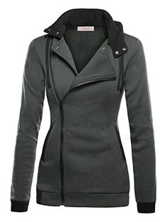 Womens Oblique Zipper Slim Fit Hoodie Jacket with functional collared neck, long sleeve Slim Fit Hoodie, Hooded Sweatshirts, Hoodies, Hoodie Jacket, Coats For Women, Leather Jacket, Casual, Jackets, Zipper
