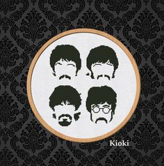 The Beatles. monochrome Cross Stitch Pattern available for instant download via Etsy.