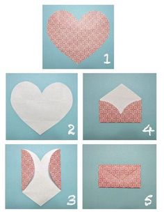 How to make an envelope from a heart shape cutout.