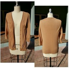 Merona Sweater 3/4 sleeve camel cardigan with cascading ruffles and buttons in front. Worn only a couple times. Bundle to save on shipping! Merona Sweaters Cardigans