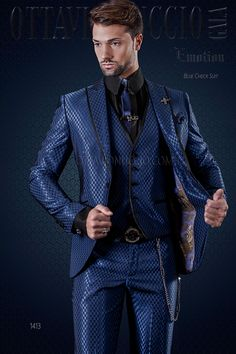 Blue checkered suit with satin shawl contrast lapel #menswear #menstyle #wedding #groom