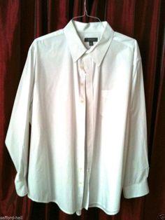 Merona Shirt Size XXL White Long Sleeves Pocket Classic Career Crisp Cotton #Merona