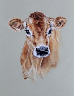 Pencil Portrait Mastery - Jersey Cow, original pastel portrait - Discover The Se. - Pencil Portrait Mastery – Jersey Cow, original pastel portrait – Discover The Secrets Of Drawin - Animal Paintings, Animal Drawings, Art Drawings, Paintings Of Cows, Cow Painting, Painting & Drawing, Watercolor Animals, Watercolor Paintings, Watercolors
