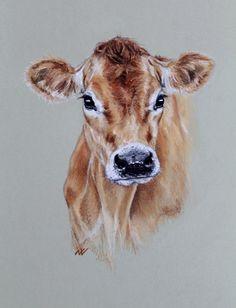 Jersey Cow, original pastel portrait