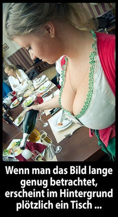 When watching this picture for a longer time a table appears in the background (I can& confirm got a bit distracted) Beer Girl, Adult Humor, Boobs, Funny Pictures, Beautiful Women, Actresses, Celebrities, German Beer, Folk Costume