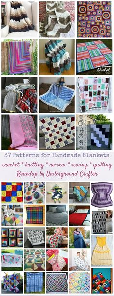 37 patterns for handmade blankets (including crochet, knitting, no-sew, sewing, and quilting projects) that make great gifts. This is a guide for everything. Easy Sewing Projects, Quilting Projects, Sewing Tutorials, Sewing Ideas, Afghan Crochet Patterns, Knitting Patterns, Crochet Afghans, Map Quilt, Quilts