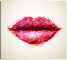 Beautiful Woman Lips Formed Figurative Canvas Wall Art Print by Unknown