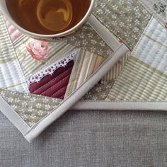 Fabric coasters, set of mug mats, candle mat, mini quilt, kitchen decor Quilted Coasters, Fabric Coasters, King Size Quilt, Patchwork Quilting, Mug Rugs, Mini Quilts, Potholders, Placemat, Quilt Making