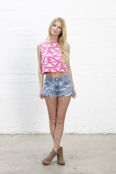 shell crop top with back exposed zipper #eightsixty #summer14