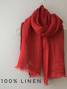 Linen scarf-Natural linen shawl- Black linen scarf-Summer linen scarf-Women natural clothing-Organic linen scarf-Red linen scarf-Vegan