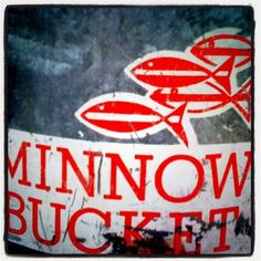 #Brimfield. Vintage minnow bucket. Graphics