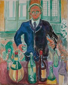 Self-Portrait with Bottles 1938 (?) / Oil on canvas / 93 x 118 cm Munch Museum
