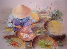 Art Asiatique, Perspective Drawing, Asian Art, Impressionism, Asian Beauty, Paint Colors, Watercolor Paintings, Vietnam, Beautiful Pictures