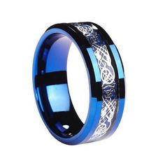 Queenwish Blue Tungsten Ring Silver Color Celtic Dragon Blue Carbon Fibre Inlay Eternity Wedding Rings For Couples Jewelry Celtic Rings, Celtic Wedding Rings, Wedding Ring Bands, Celtic Knot, Dragon Ring, Tungsten Carbide Wedding Bands, Stainless Steel Rings, Wedding Men, Man Stuff