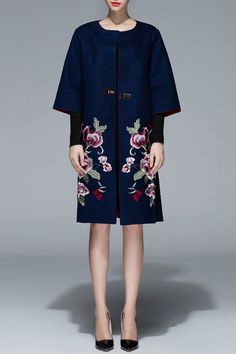 Proverb Purplish Blue Wool Floral Embroidered Coat | Coats at DEZZAL