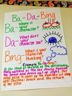 Anchor chart for Ba-Da-Bings!: a useful strategy that encourages students to add more descriptive details to their writing. More writing ideas are included on this post!