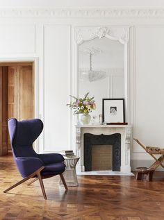 Interiors | Stunning Parisian Apartment parquetry floors and fireplace