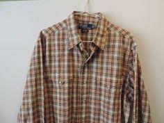 Ralph Lauren Brown Plaid Snap Button Western Styled 100% Cotton Shirt SZ L Mint #RalphLauren #Western