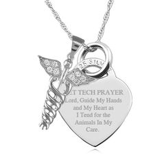 A Vet Tech Prayer with Caduceus Sterling by JewelryPersonalised