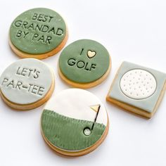 Golf Cookies, Fondant Cookies, Golf Theme, Themed Cupcakes, Golf Gifts, Biscuits, Homemade, Desserts, Crack Crackers