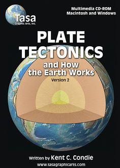 Plate Tectonics and How the Earth Works CD-ROM by Tasa Graphic Arts is designed to aid advanced students in the geological sciences in visualizing and learning about processes within the Earth and how these processes are related to plate tectonics. Written by Kent C. Condie, Ph.D. Illustrated by Dennis Tasa. Earth science geology multimedia software for Macintosh and Windows.