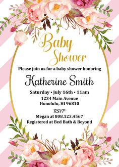 Boho Baby Shower Invitation. Bohemian Baby Shower Invitation.