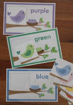 Bird color match - a fun spring activity for toddlers, preschool, pre-k, and busy bags Spring Activities, Color Activities, Toddler Activities, Preschool Activities, Educational Activities, Bird Crafts Preschool, File Folder Activities, File Folder Games, File Folders