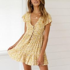 Bohemian Style V Neck Flower Printing Mini Dress – nananova Elegant Dresses, Sexy Dresses, Casual Dresses, Dresses For Work, Summer Dresses, Formal Dresses, Wedding Dresses, Mini Dresses, Pretty Dresses