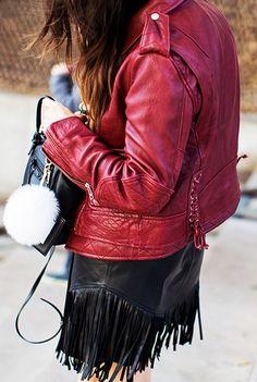 Red moto jacket worn with leather fringe